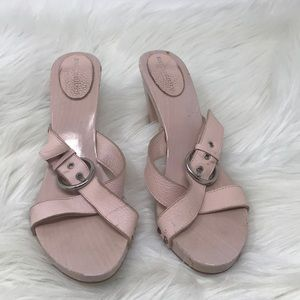 Burberry Pink Leather Heel Sandals 10